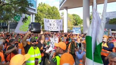 Cacciatori protesta Milano